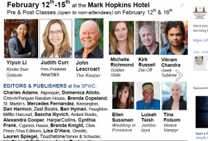 Photo of talent list for SF Writer's Conference 2015